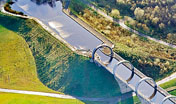 Falkirk Wheel aerial view of canal and top of lock